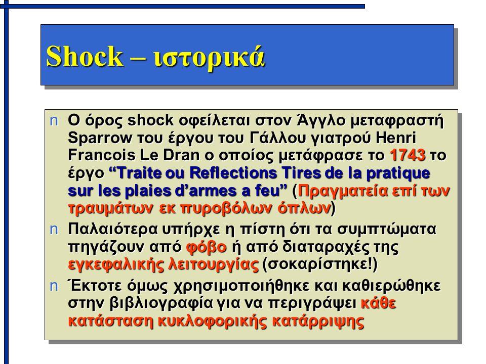 Shock – ιστορικά nΟ όρος shock οφείλεται στον Άγγλο μεταφραστή Sparrow του έργου του Γάλλου γιατρού Henri Francois Le Dran ο οποίος μετάφρασε το 1743