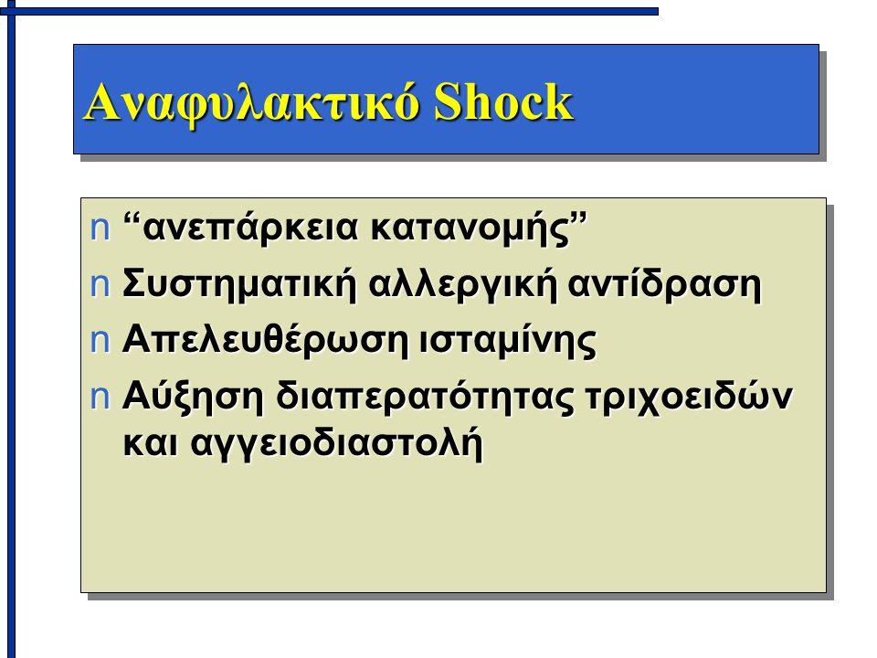 """Αναφυλακτικό Shock n""""ανεπάρκεια κατανομής"""" nΣυστηματική αλλεργική αντίδραση nΑπελευθέρωση ισταμίνης nΑύξηση διαπερατότητας τριχοειδών και αγγειοδιαστο"""