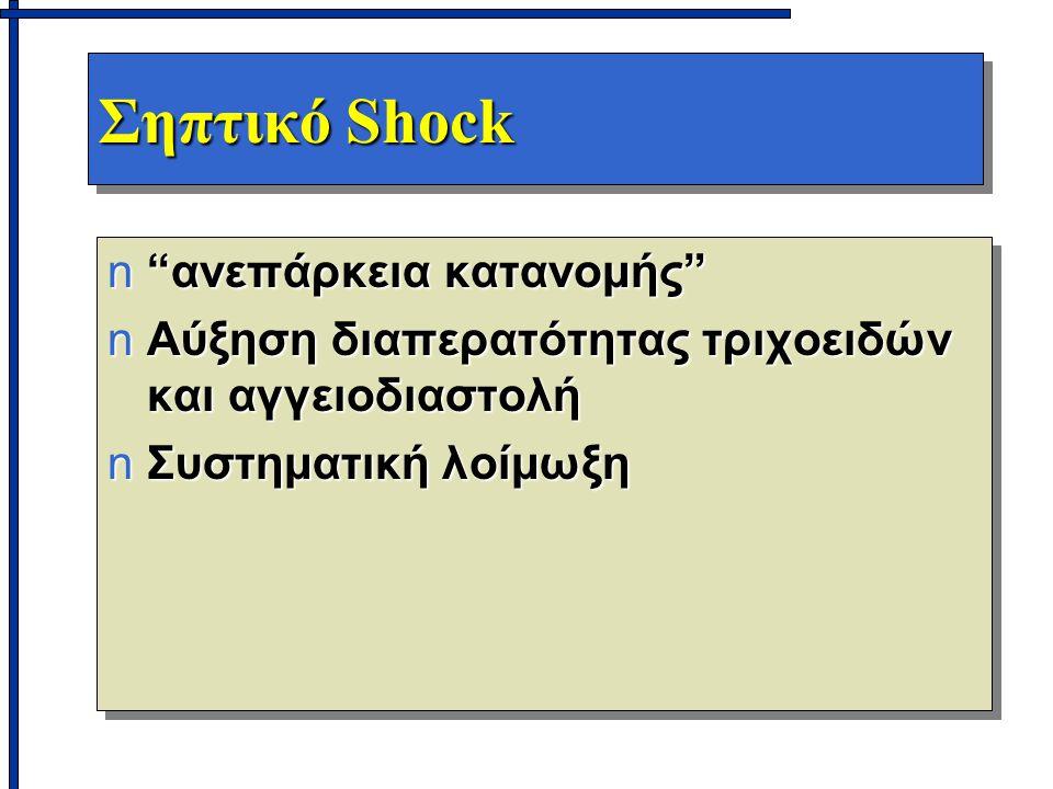 """Σηπτικό Shock n""""ανεπάρκεια κατανομής"""" nΑύξηση διαπερατότητας τριχοειδών και αγγειοδιαστολή nΣυστηματική λοίμωξη n""""ανεπάρκεια κατανομής"""" nΑύξηση διαπερ"""