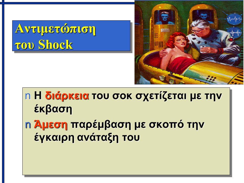 Αντιμετώπιση του Shock nΗ διάρκεια του σοκ σχετίζεται με την έκβαση nΆμεση παρέμβαση με σκοπό την έγκαιρη ανάταξη του nΗ διάρκεια του σοκ σχετίζεται με την έκβαση nΆμεση παρέμβαση με σκοπό την έγκαιρη ανάταξη του