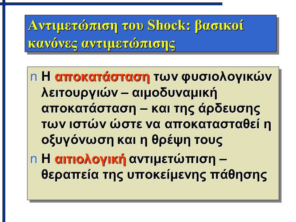 Αντιμετώπιση του Shock: βασικοί κανόνες αντιμετώπισης nΗ αποκατάσταση των φυσιολογικών λειτουργιών – αιμοδυναμική αποκατάσταση – και της άρδευσης των ιστών ώστε να αποκατασταθεί η οξυγόνωση και η θρέψη τους nΗ αιτιολογική αντιμετώπιση – θεραπεία της υποκείμενης πάθησης nΗ αποκατάσταση των φυσιολογικών λειτουργιών – αιμοδυναμική αποκατάσταση – και της άρδευσης των ιστών ώστε να αποκατασταθεί η οξυγόνωση και η θρέψη τους nΗ αιτιολογική αντιμετώπιση – θεραπεία της υποκείμενης πάθησης