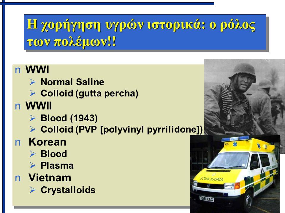 Η χορήγηση υγρών ιστορικά: ο ρόλος των πολέμων!! n nWWI   Normal Saline   Colloid (gutta percha) n nWWII   Blood (1943)   Colloid (PVP [polyvi