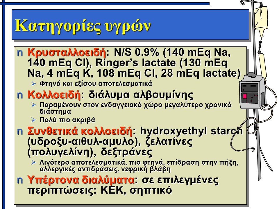 Κατηγορίες υγρών nΚρυσταλλοειδή: N/S 0.9% (140 mEq Na, 140 mEq Cl), Ringer's lactate (130 mEq Na, 4 mEq K, 108 mEq Cl, 28 mEq lactate)  Φτηνά και εξίσου αποτελεσματικά nΚολλοειδή: διάλυμα αλβουμίνης  Παραμένουν στον ενδαγγειακό χώρο μεγαλύτερο χρονικό διάστημα  Πολύ πιο ακριβά nΣυνθετικά κολλοειδή: hydroxyethyl starch (υδροξυ-αιθυλ-αμυλο), ζελατίνες (πολυγελίνη), δεξτράνες  Λιγότερο αποτελεσματικά, πιο φτηνά, επίδραση στην πήξη, αλλεργικές αντιδράσεις, νεφρική βλάβη nΥπέρτονα διαλύματα: σε επιλεγμένες περιπτώσεις: ΚΕΚ, σηπτικό nΚρυσταλλοειδή: N/S 0.9% (140 mEq Na, 140 mEq Cl), Ringer's lactate (130 mEq Na, 4 mEq K, 108 mEq Cl, 28 mEq lactate)  Φτηνά και εξίσου αποτελεσματικά nΚολλοειδή: διάλυμα αλβουμίνης  Παραμένουν στον ενδαγγειακό χώρο μεγαλύτερο χρονικό διάστημα  Πολύ πιο ακριβά nΣυνθετικά κολλοειδή: hydroxyethyl starch (υδροξυ-αιθυλ-αμυλο), ζελατίνες (πολυγελίνη), δεξτράνες  Λιγότερο αποτελεσματικά, πιο φτηνά, επίδραση στην πήξη, αλλεργικές αντιδράσεις, νεφρική βλάβη nΥπέρτονα διαλύματα: σε επιλεγμένες περιπτώσεις: ΚΕΚ, σηπτικό