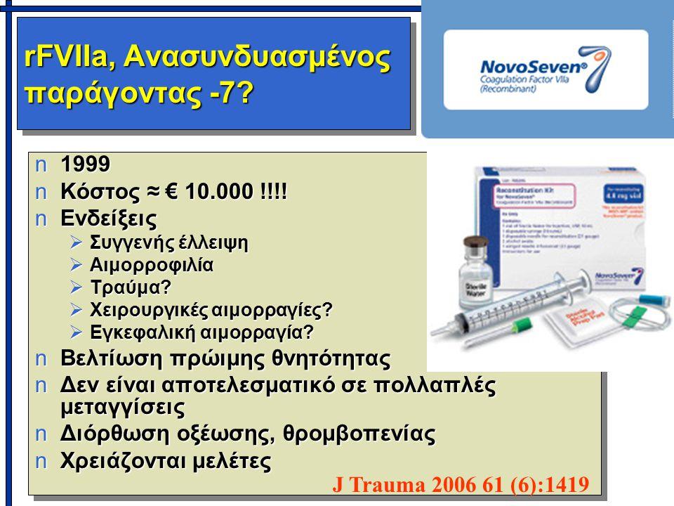 rFVIIa, Ανασυνδυασμένος παράγοντας -7? n1999 nΚόστος ≈ € 10.000 !!!! nΕνδείξεις  Συγγενής έλλειψη  Αιμορροφιλία  Τραύμα?  Χειρουργικές αιμορραγίες