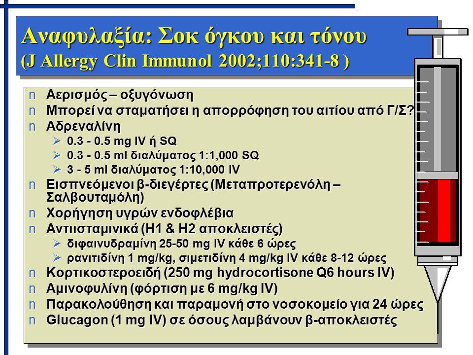 Αναφυλαξία: Σοκ όγκου και τόνου (J Allergy Clin Immunol 2002;110:341-8 ) nΑερισμός – οξυγόνωση nΜπορεί να σταματήσει η απορρόφηση του αιτίου από Γ/Σ?
