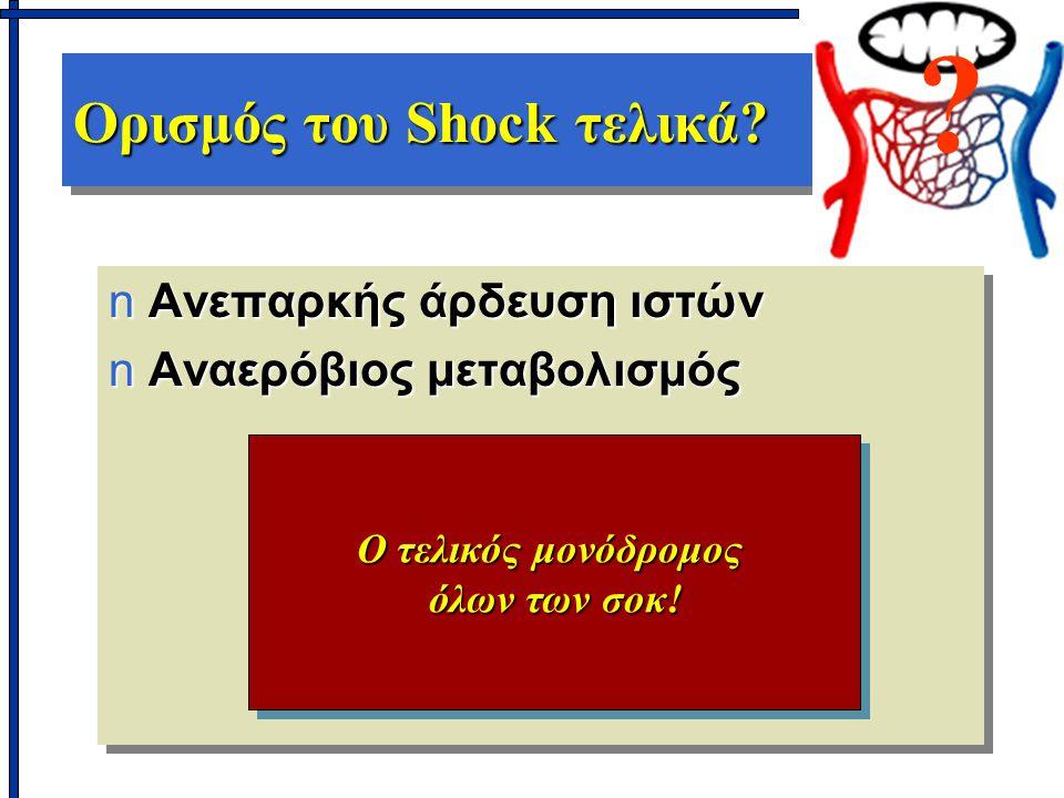 Ορισμός του Shock τελικά? nΑνεπαρκής άρδευση ιστών nΑναερόβιος μεταβολισμός nΑνεπαρκής άρδευση ιστών nΑναερόβιος μεταβολισμός Ο τελικός μονόδρομος όλω