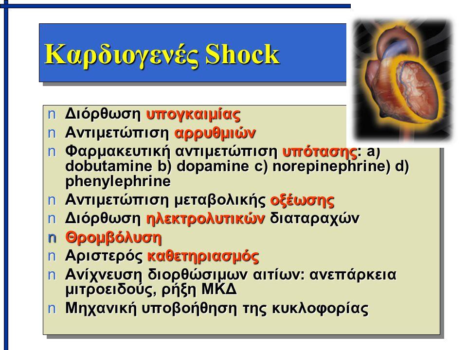 Καρδιογενές Shock nΔιόρθωση υπογκαιμίας nΑντιμετώπιση αρρυθμιών nΦαρμακευτική αντιμετώπιση υπότασης: a) dobutamine b) dopamine c) norepinephrine) d) phenylephrine nΑντιμετώπιση μεταβολικής οξέωσης nΔιόρθωση ηλεκτρολυτικών διαταραχών nΘρομβόλυση nΑριστερός καθετηριασμός nΑνίχνευση διορθώσιμων αιτίων: ανεπάρκεια μιτροειδούς, ρήξη ΜΚΔ nΜηχανική υποβοήθηση της κυκλοφορίας nΔιόρθωση υπογκαιμίας nΑντιμετώπιση αρρυθμιών nΦαρμακευτική αντιμετώπιση υπότασης: a) dobutamine b) dopamine c) norepinephrine) d) phenylephrine nΑντιμετώπιση μεταβολικής οξέωσης nΔιόρθωση ηλεκτρολυτικών διαταραχών nΘρομβόλυση nΑριστερός καθετηριασμός nΑνίχνευση διορθώσιμων αιτίων: ανεπάρκεια μιτροειδούς, ρήξη ΜΚΔ nΜηχανική υποβοήθηση της κυκλοφορίας