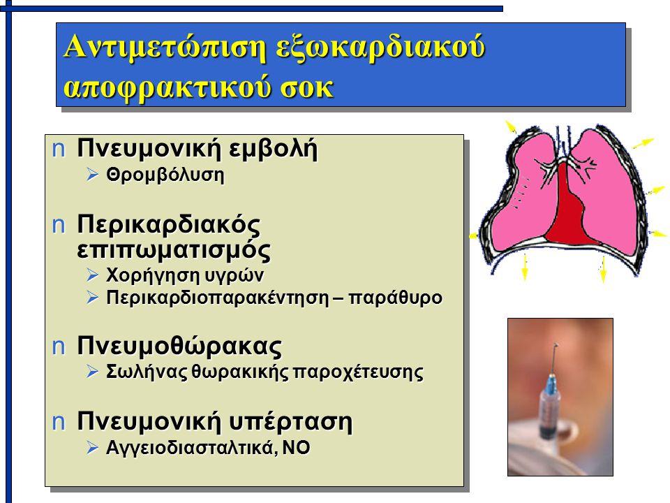 Αντιμετώπιση εξωκαρδιακού αποφρακτικού σοκ nΠνευμονική εμβολή  Θρομβόλυση nΠερικαρδιακός επιπωματισμός  Χορήγηση υγρών  Περικαρδιοπαρακέντηση – παράθυρο nΠνευμοθώρακας  Σωλήνας θωρακικής παροχέτευσης nΠνευμονική υπέρταση  Αγγειοδιασταλτικά, NO nΠνευμονική εμβολή  Θρομβόλυση nΠερικαρδιακός επιπωματισμός  Χορήγηση υγρών  Περικαρδιοπαρακέντηση – παράθυρο nΠνευμοθώρακας  Σωλήνας θωρακικής παροχέτευσης nΠνευμονική υπέρταση  Αγγειοδιασταλτικά, NO