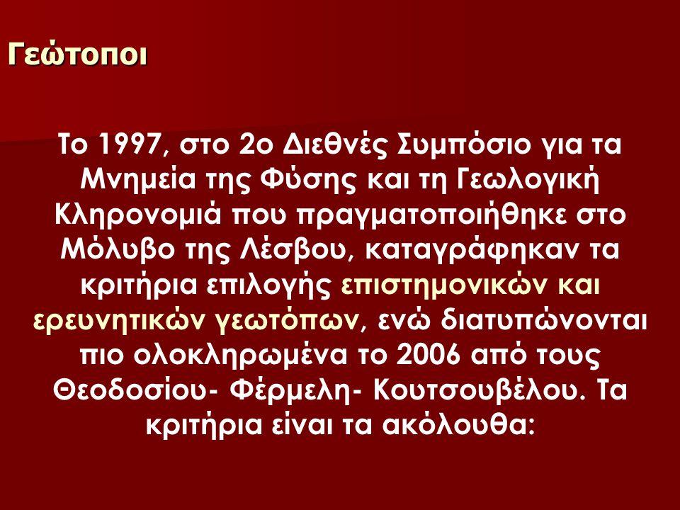 Γεώτοποι Το 1997, στο 2ο Διεθνές Συμπόσιο για τα Μνημεία της Φύσης και τη Γεωλογική Κληρονομιά που πραγματοποιήθηκε στο Μόλυβο της Λέσβου, καταγράφηκα