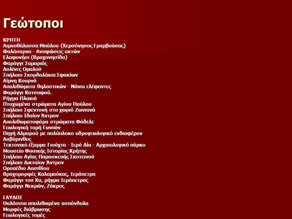 Γεώτοποι ΚΡΗΤΗ Λιμνοθάλασσα Μπάλου (Xερσόνησoς Γραμβούσας) Φαλάσαρνα - Ανυψώσεις ακτών Ελαφονήσι (Βραχονησίδα) Φαράγγι Σαμαριάς Δολίνες Ομαλού Σπήλαιο