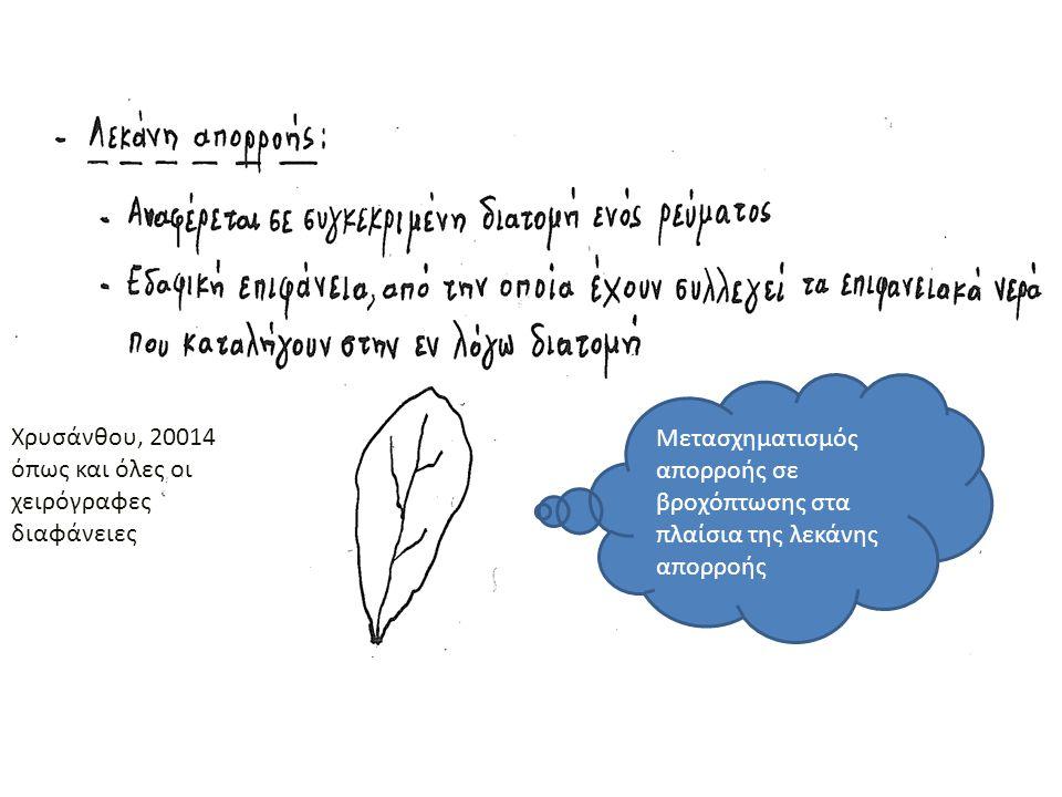 Μετασχηματισμός απορροής σε βροχόπτωσης στα πλαίσια της λεκάνης απορροής Χρυσάνθου, 20014 όπως και όλες οι χειρόγραφες διαφάνειες