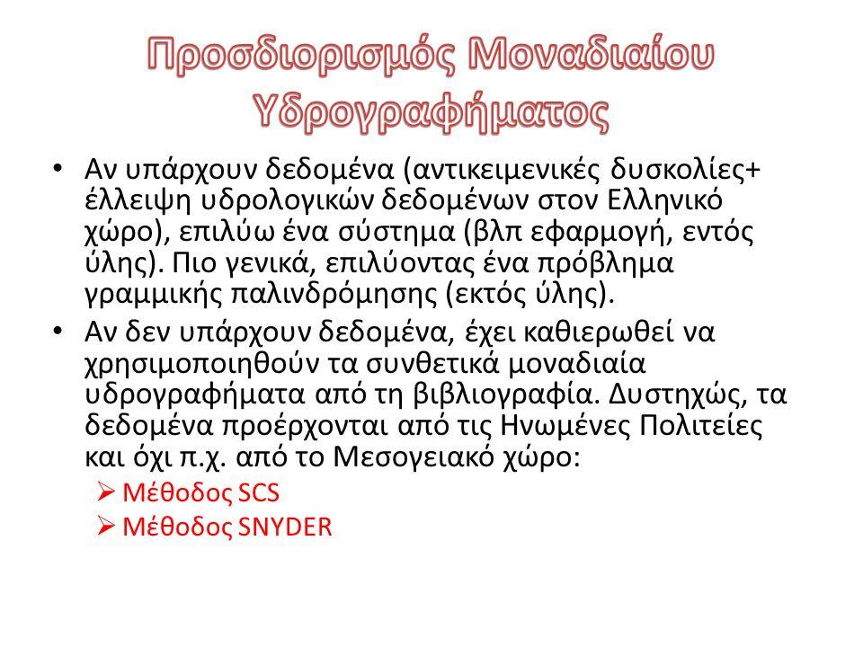 Αν υπάρχουν δεδομένα (αντικειμενικές δυσκολίες+ έλλειψη υδρολογικών δεδομένων στον Ελληνικό χώρο), επιλύω ένα σύστημα (βλπ εφαρμογή, εντός ύλης). Πιο