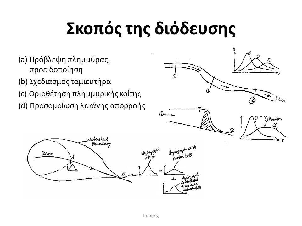 Routing Σκοπός της διόδευσης (a) Πρόβλεψη πλημμύρας, προειδοποίηση (b) Σχεδιασμός ταμιευτήρα (c) Οριοθέτηση πλημμυρικής κοίτης (d) Προσομοίωση λεκάνης