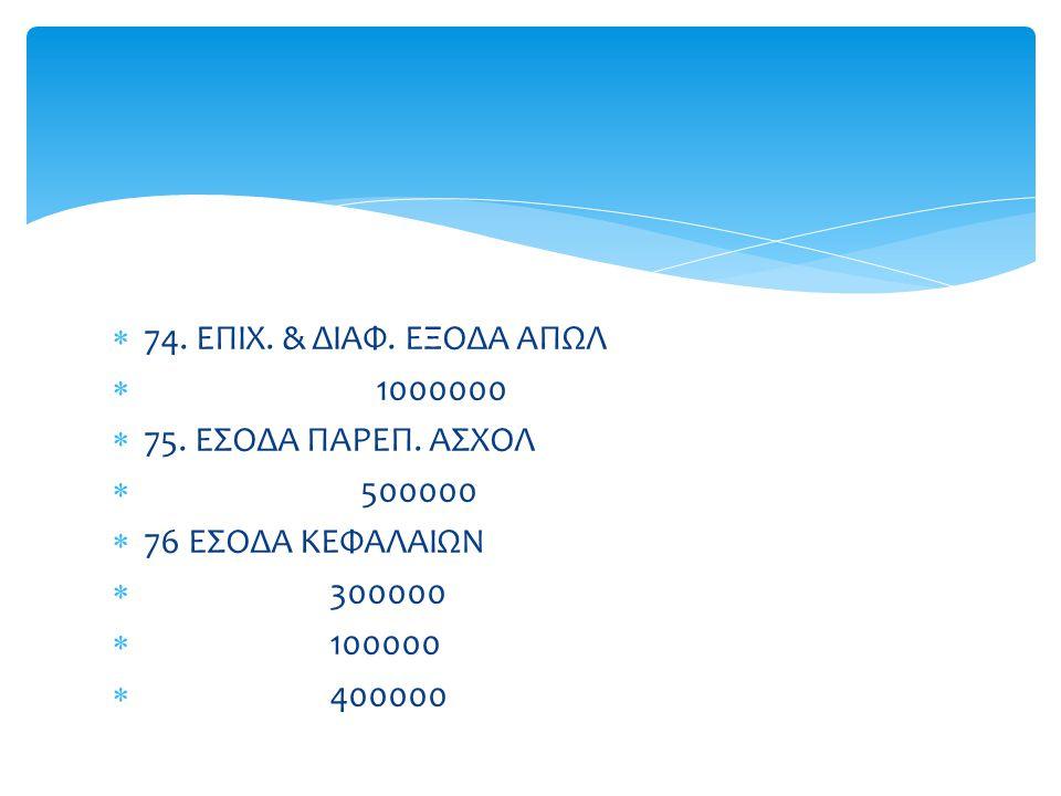  74. ΕΠΙΧ. & ΔΙΑΦ. ΕΞΟΔΑ ΑΠΩΛ  1000000  75. ΕΣΟΔΑ ΠΑΡΕΠ. ΑΣΧΟΛ  500000  76 ΕΣΟΔΑ ΚΕΦΑΛΑΙΩΝ  300000  100000  400000