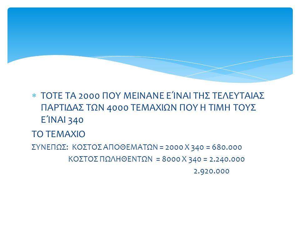  ΤΟΤΕ ΤΑ 2000 ΠΟΥ ΜΕΙΝΑΝΕ ΕΊΝΑΙ ΤΗΣ ΤΕΛΕΥΤΑΙΑΣ ΠΑΡΤΙΔΑΣ ΤΩΝ 4000 ΤΕΜΑΧΙΩΝ ΠΟΥ Η ΤΙΜΗ ΤΟΥΣ ΕΊΝΑΙ 340 ΤΟ ΤΕΜΑΧΙΟ ΣΥΝΕΠΩΣ: ΚΟΣΤΟΣ ΑΠΟΘΕΜΑΤΩΝ = 2000 Χ 34