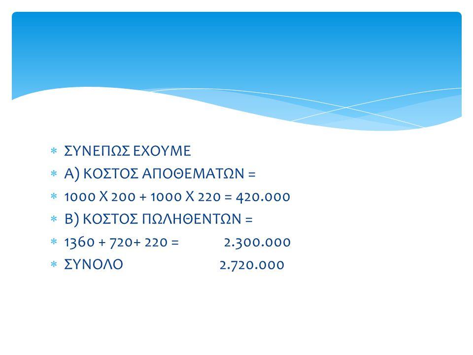  ΣΥΝΕΠΩΣ ΕΧΟΥΜΕ  Α) ΚΟΣΤΟΣ ΑΠΟΘΕΜΑΤΩΝ =  1000 Χ 200 + 1000 Χ 220 = 420.000  Β) ΚΟΣΤΟΣ ΠΩΛΗΘΕΝΤΩΝ =  1360 + 720+ 220 = 2.300.000  ΣΥΝΟΛΟ 2.720.00