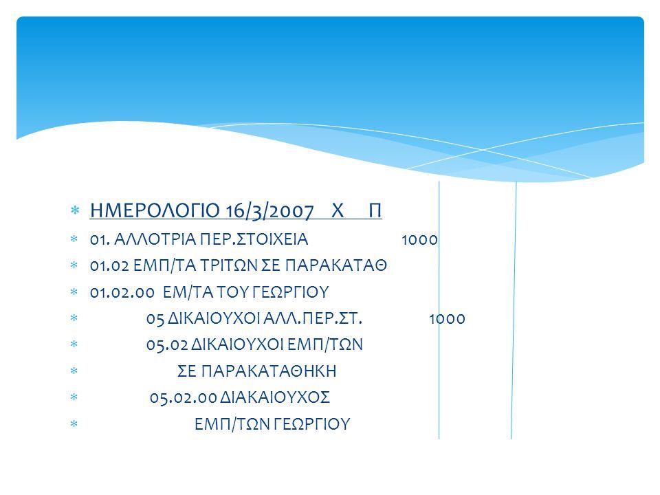  ΗΜΕΡΟΛΟΓΙΟ 16/3/2007 Χ Π  01.