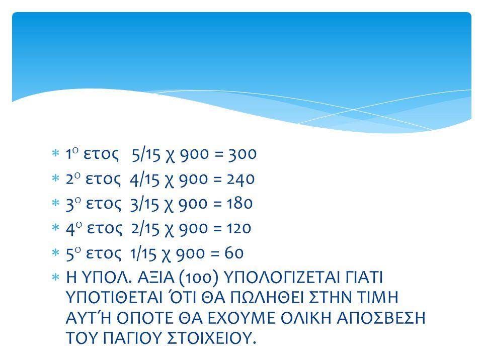  1 ο ετος 5/15 χ 900 = 300  2 ο ετος 4/15 χ 900 = 240  3 ο ετος 3/15 χ 900 = 180  4 ο ετος 2/15 χ 900 = 120  5 ο ετος 1/15 χ 900 = 60  Η ΥΠΟΛ.