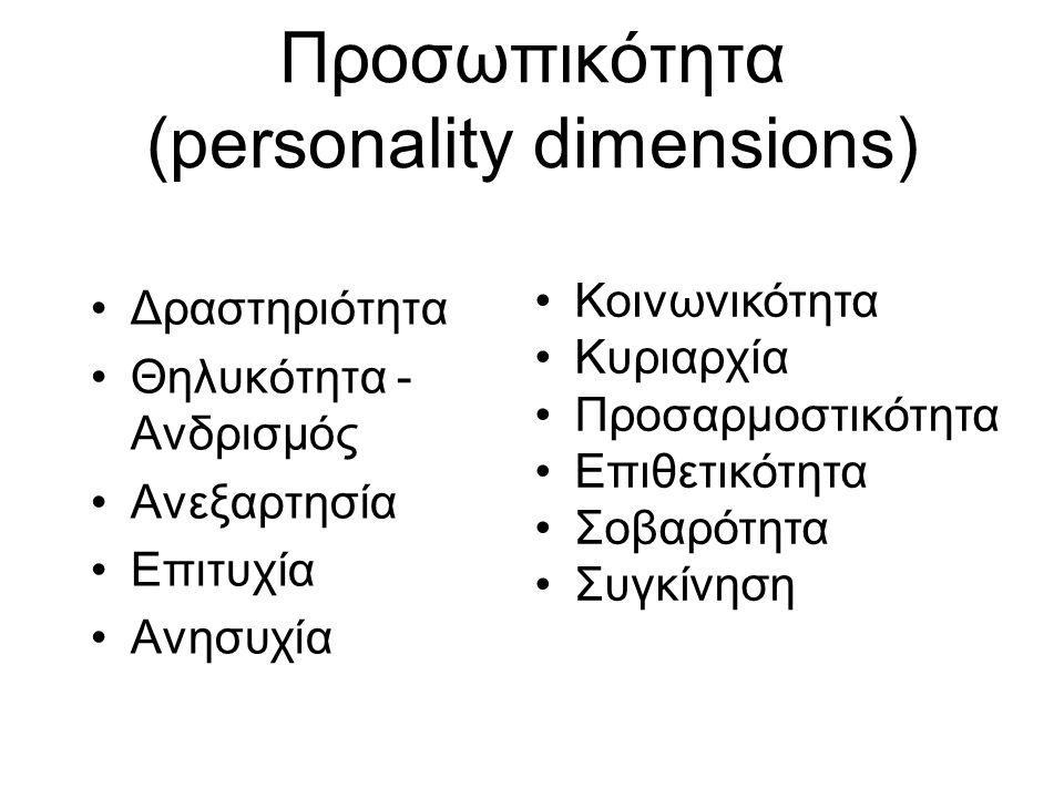 Προσωπικότητα (personality dimensions) Δραστηριότητα Θηλυκότητα - Ανδρισμός Ανεξαρτησία Επιτυχία Ανησυχία Κοινωνικότητα Κυριαρχία Προσαρμοστικότητα Επ