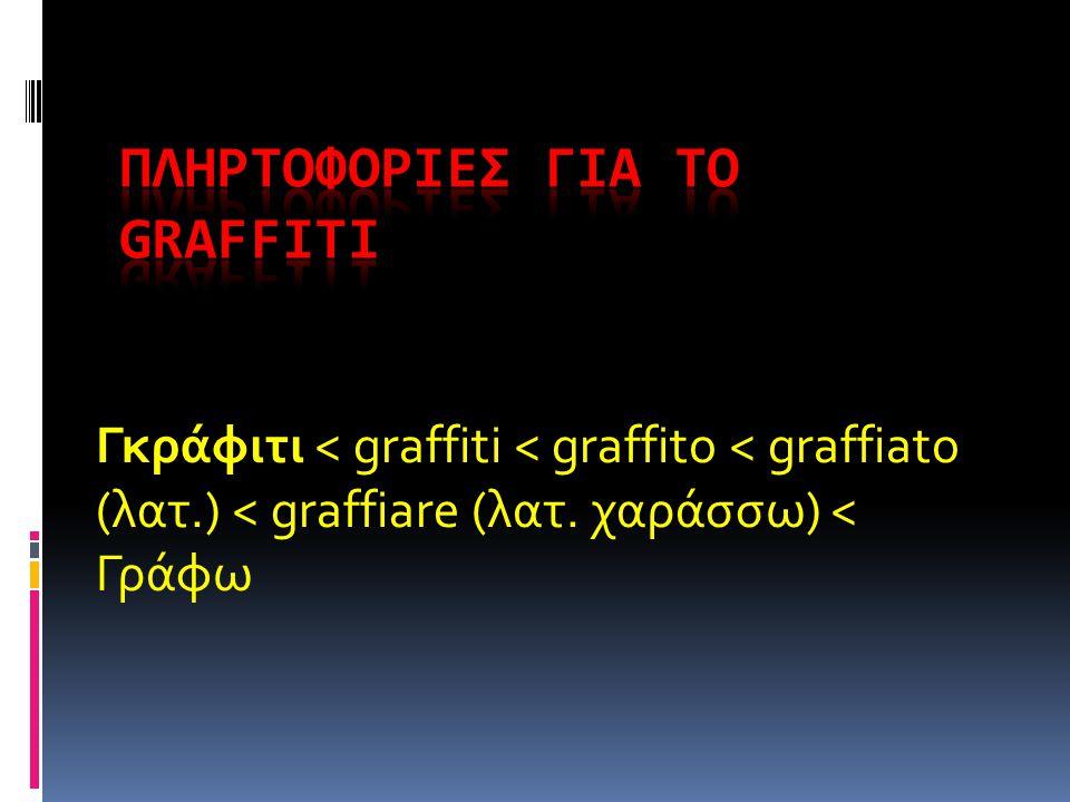 Γκράφιτι < graffiti < graffito < graffiato (λατ.) < graffiare (λατ. χαράσσω) < Γράφω