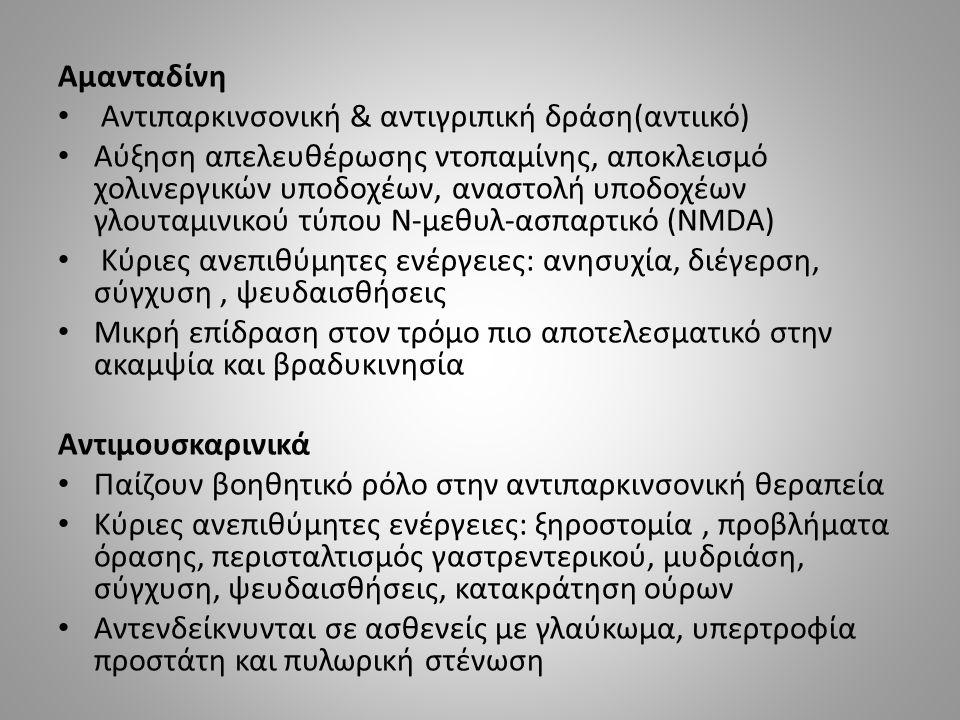 Αμανταδίνη Αντιπαρκινσονική & αντιγριπική δράση(αντιικό) Αύξηση απελευθέρωσης ντοπαμίνης, αποκλεισμό χολινεργικών υποδοχέων, αναστολή υποδοχέων γλουταμινικού τύπου Ν-μεθυλ-ασπαρτικό (NMDA) Κύριες ανεπιθύμητες ενέργειες: ανησυχία, διέγερση, σύγχυση, ψευδαισθήσεις Μικρή επίδραση στον τρόμο πιο αποτελεσματικό στην ακαμψία και βραδυκινησία Αντιμουσκαρινικά Παίζουν βοηθητικό ρόλο στην αντιπαρκινσονική θεραπεία Κύριες ανεπιθύμητες ενέργειες: ξηροστομία, προβλήματα όρασης, περισταλτισμός γαστρεντερικού, μυδριάση, σύγχυση, ψευδαισθήσεις, κατακράτηση ούρων Αντενδείκνυνται σε ασθενείς με γλαύκωμα, υπερτροφία προστάτη και πυλωρική στένωση