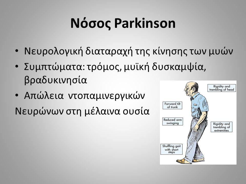 Νόσος Parkinson Νευρολογική διαταραχή της κίνησης των μυών Συμπτώματα: τρόμος, μυϊκή δυσκαμψία, βραδυκινησία Απώλεια ντοπαμινεργικών Νευρώνων στη μέλαινα ουσία