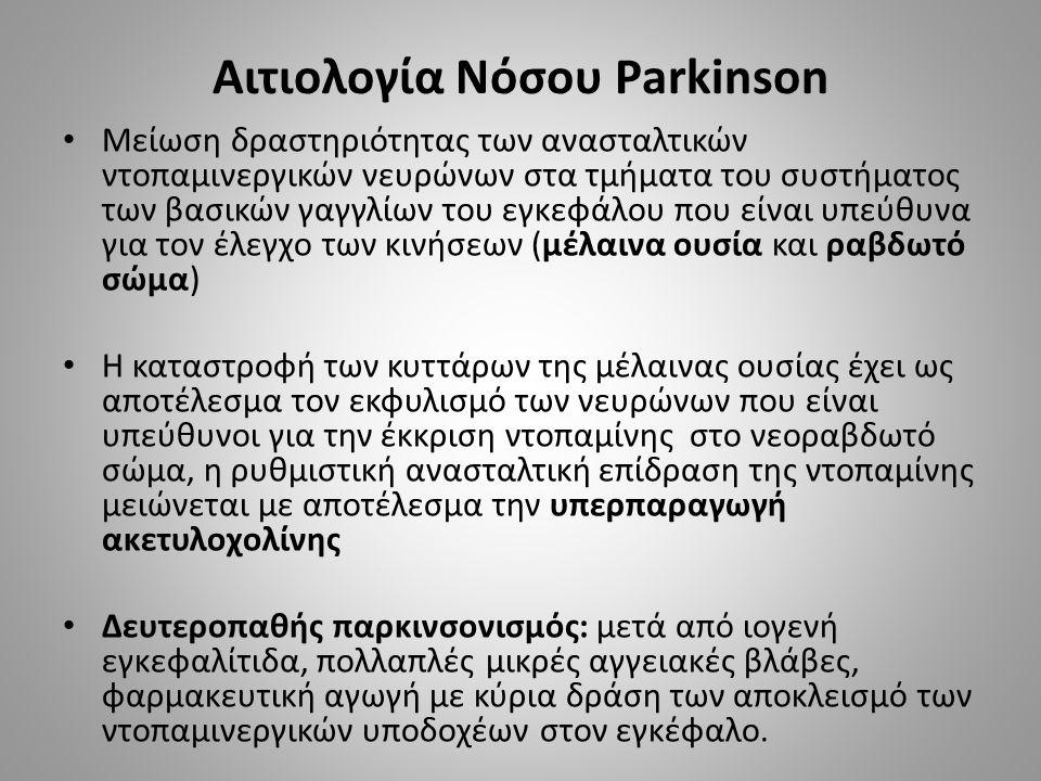 Αιτιολογία Νόσου Parkinson Μείωση δραστηριότητας των ανασταλτικών ντοπαμινεργικών νευρώνων στα τμήματα του συστήματος των βασικών γαγγλίων του εγκεφάλου που είναι υπεύθυνα για τον έλεγχο των κινήσεων (μέλαινα ουσία και ραβδωτό σώμα) Η καταστροφή των κυττάρων της μέλαινας ουσίας έχει ως αποτέλεσμα τον εκφυλισμό των νευρώνων που είναι υπεύθυνοι για την έκκριση ντοπαμίνης στο νεοραβδωτό σώμα, η ρυθμιστική ανασταλτική επίδραση της ντοπαμίνης μειώνεται με αποτέλεσμα την υπερπαραγωγή ακετυλοχολίνης Δευτεροπαθής παρκινσονισμός: μετά από ιογενή εγκεφαλίτιδα, πολλαπλές μικρές αγγειακές βλάβες, φαρμακευτική αγωγή με κύρια δράση των αποκλεισμό των ντοπαμινεργικών υποδοχέων στον εγκέφαλο.