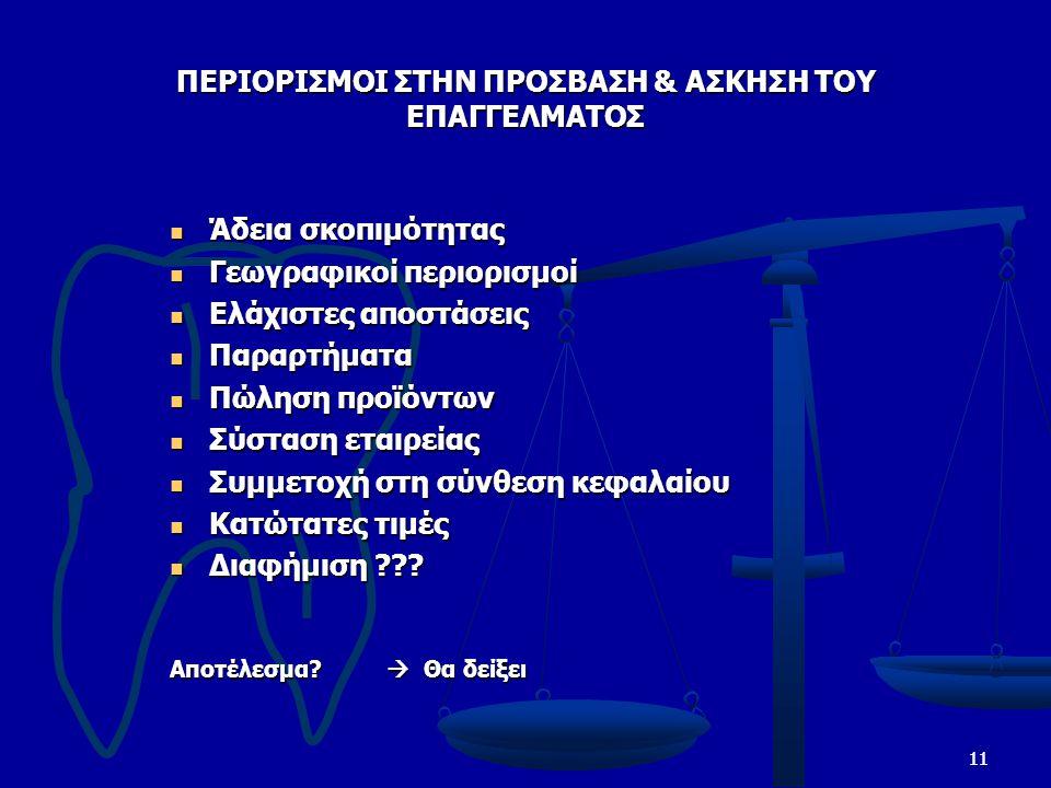11 ΠΕΡΙΟΡΙΣΜΟΙ ΣΤΗΝ ΠΡΟΣΒΑΣΗ & ΑΣΚΗΣΗ ΤΟΥ ΕΠΑΓΓΕΛΜΑΤΟΣ Άδεια σκοπιμότητας Άδεια σκοπιμότητας Γεωγραφικοί περιορισμοί Γεωγραφικοί περιορισμοί Ελάχιστες