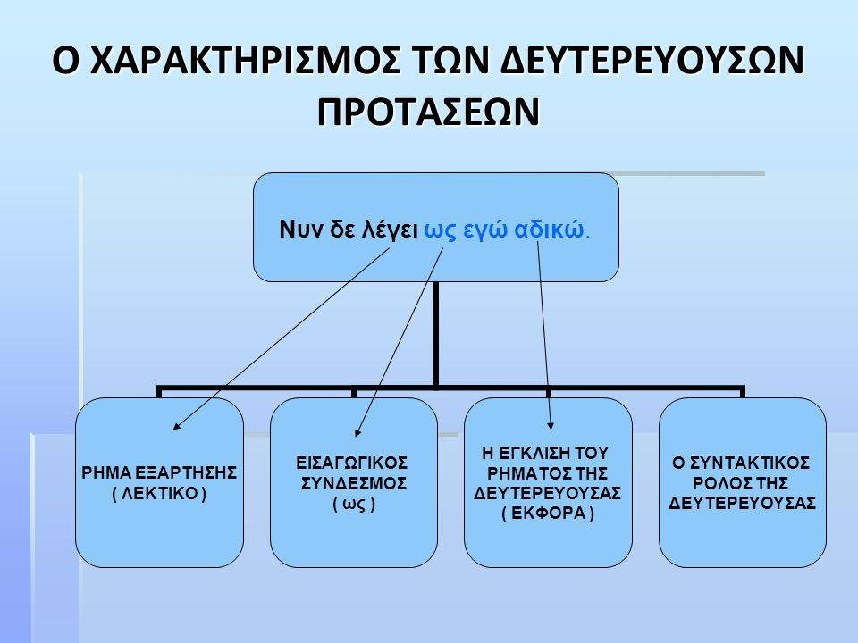 Συμπέρασμα :  Για να χαρακτηρίσουμε ολοκληρωμένα μία δευτερεύουσα πρόταση πρέπει να δηλώσουμε : i.Από πού εξαρτάται ii.Πώς εισάγεται iii.Πώς εκφέρεται iv.Ποιος είναι ο συντακτικός της ρόλος