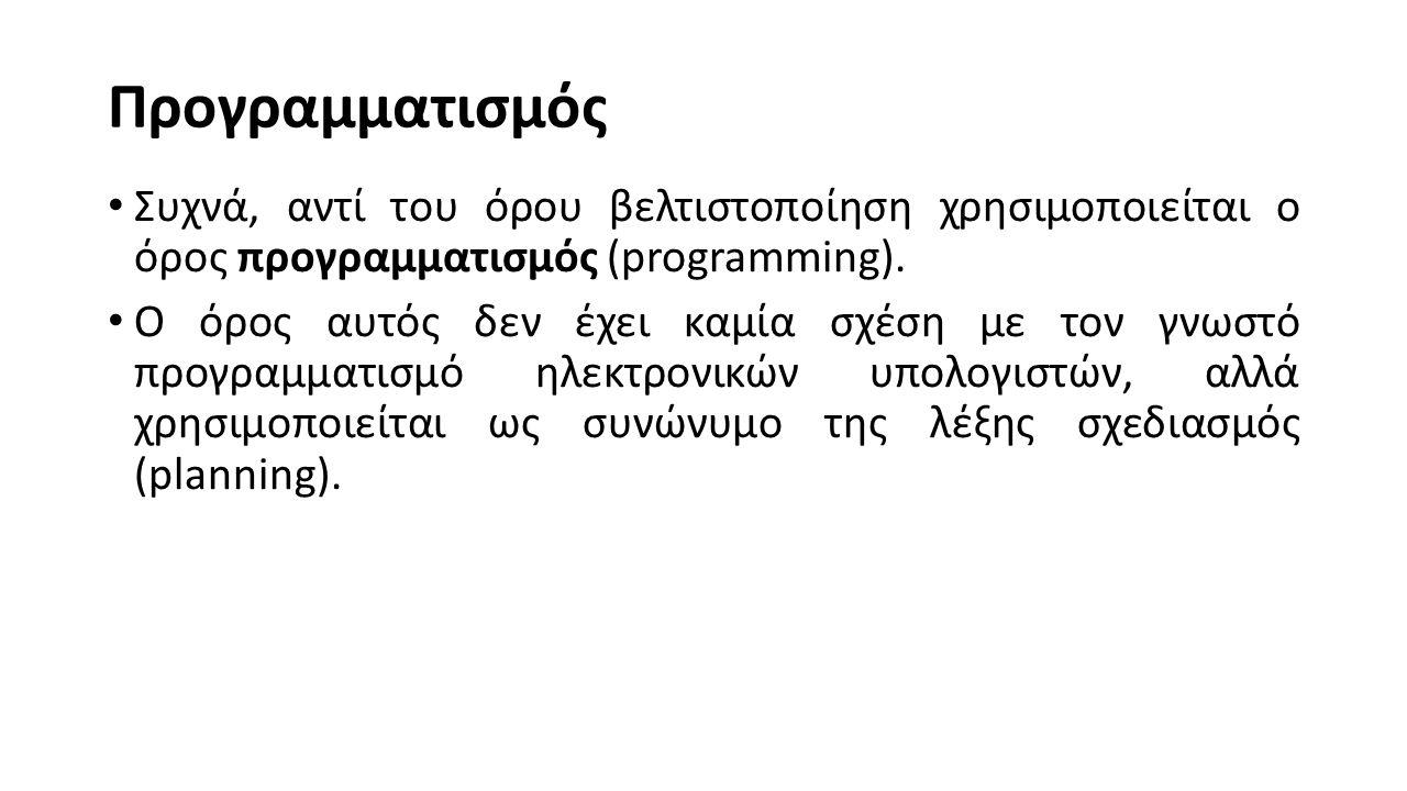 Προγραμματισμός Συχνά, αντί του όρου βελτιστοποίηση χρησιμοποιείται ο όρος προγραμματισμός (programming).