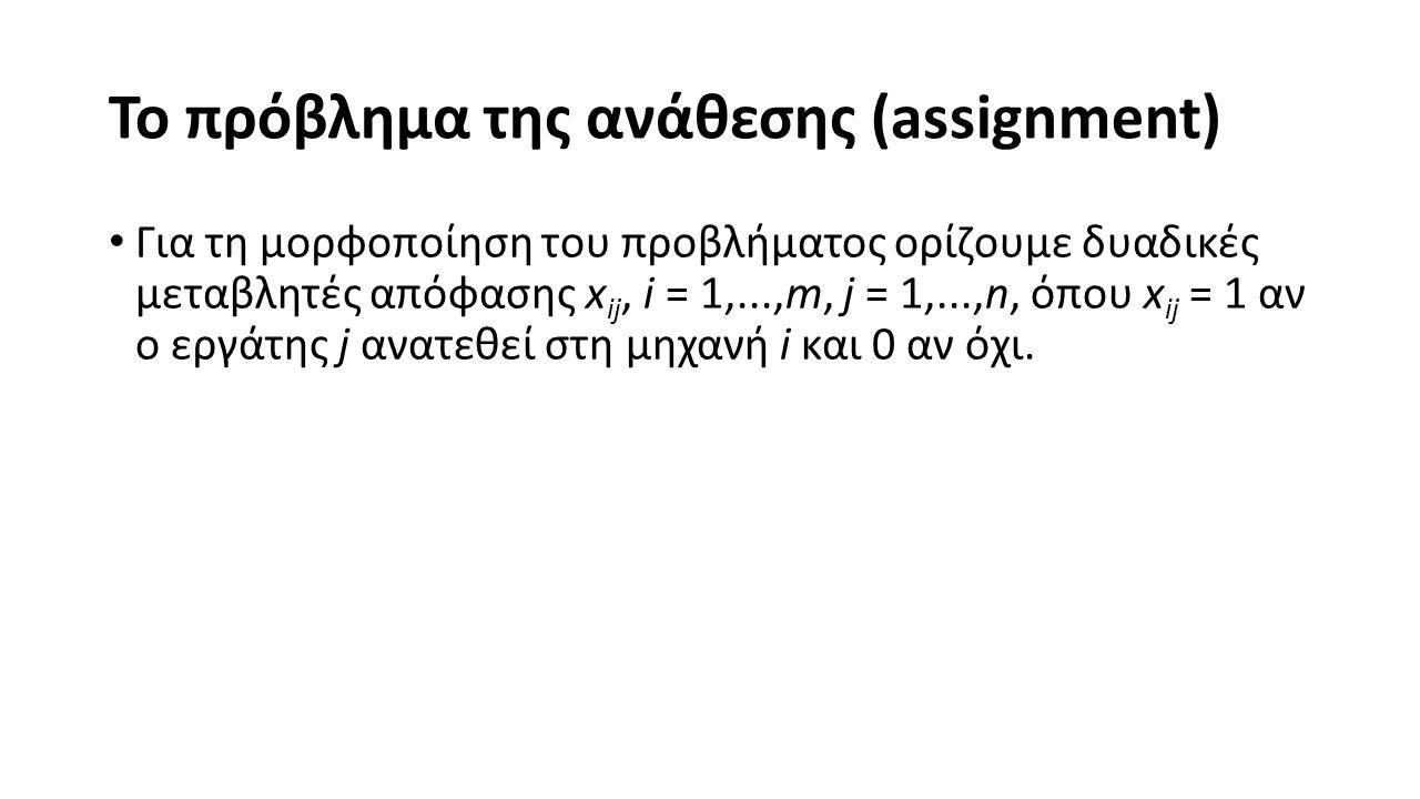Το πρόβλημα της ανάθεσης (assignment) Για τη μορφοποίηση του προβλήματος ορίζουμε δυαδικές μεταβλητές απόφασης x ij, i = 1,...,m, j = 1,...,n, όπου x ij = 1 αν o εργάτης j ανατεθεί στη μηχανή i και 0 αν όχι.