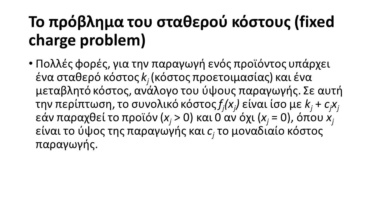 Το πρόβλημα του σταθερού κόστους (fixed charge problem) Πολλές φορές, για την παραγωγή ενός προϊόντος υπάρχει ένα σταθερό κόστος k j (κόστος προετοιμασίας) και ένα μεταβλητό κόστος, ανάλογο του ύψους παραγωγής.