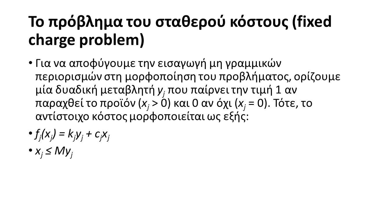 Το πρόβλημα του σταθερού κόστους (fixed charge problem) Για να αποφύγουμε την εισαγωγή μη γραμμικών περιορισμών στη μορφοποίηση του προβλήματος, ορίζουμε μία δυαδική μεταβλητή y j που παίρνει την τιμή 1 αν παραχθεί το προϊόν (x j > 0) και 0 αν όχι (x j = 0).