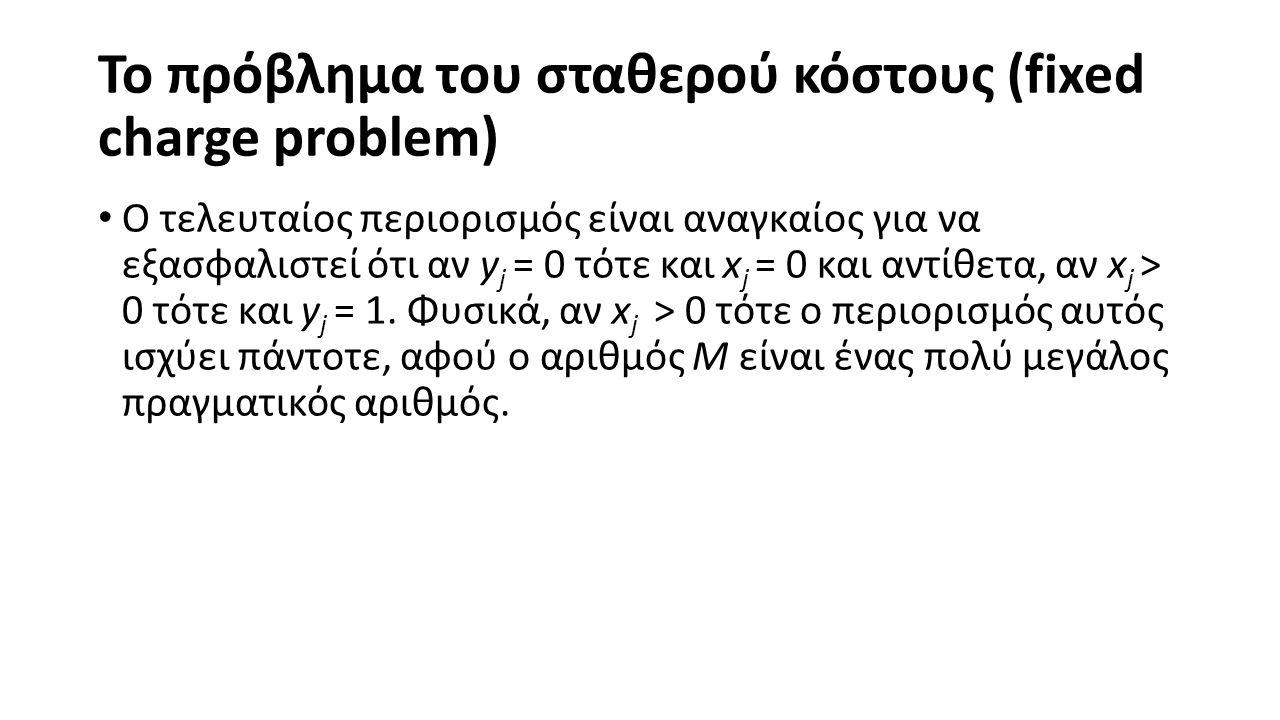 Το πρόβλημα του σταθερού κόστους (fixed charge problem) Ο τελευταίος περιορισμός είναι αναγκαίος για να εξασφαλιστεί ότι αν y j = 0 τότε και x j = 0 και αντίθετα, αν x j > 0 τότε και y j = 1.