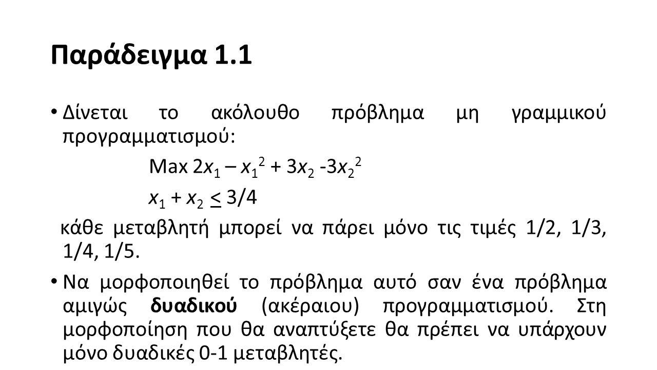 Παράδειγμα 1.1 Δίνεται το ακόλουθο πρόβλημα μη γραμμικού προγραμματισμού: Max 2x 1 – x 1 2 + 3x 2 -3x 2 2 x 1 + x 2 < 3/4 κάθε μεταβλητή μπορεί να πάρει μόνο τις τιμές 1/2, 1/3, 1/4, 1/5.