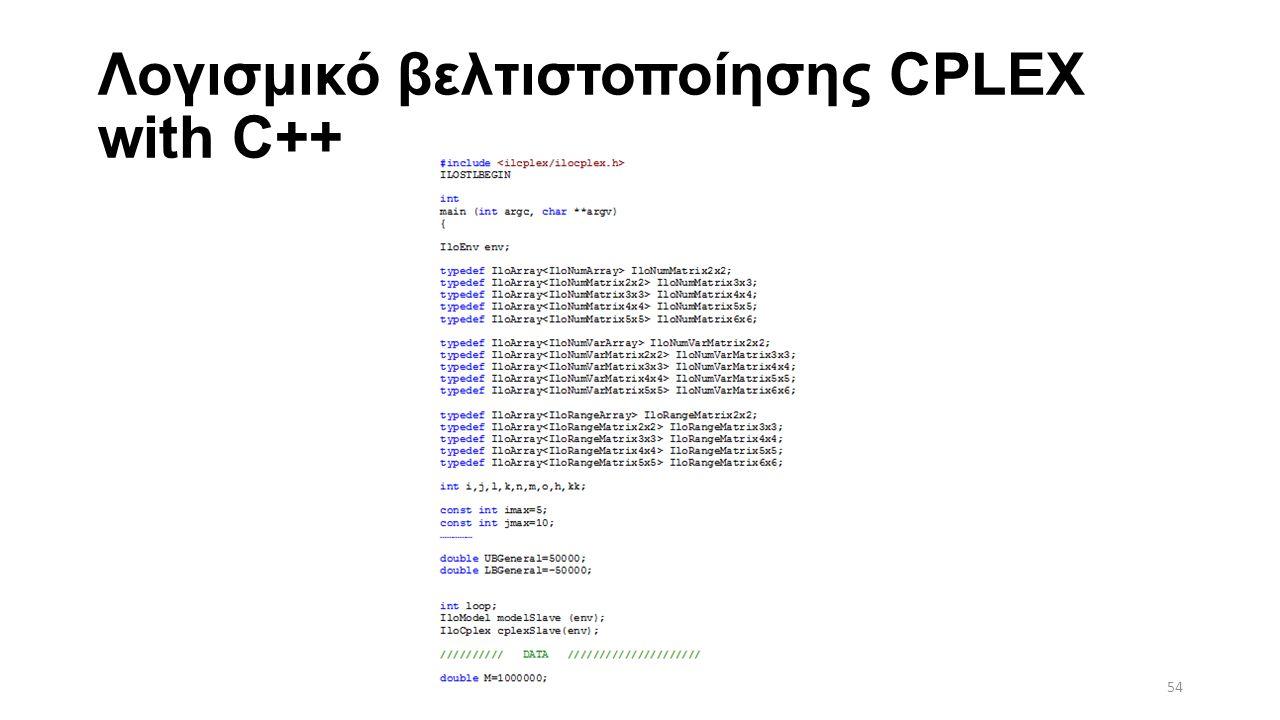 Λογισμικό βελτιστοποίησης CPLEX with C++ 54