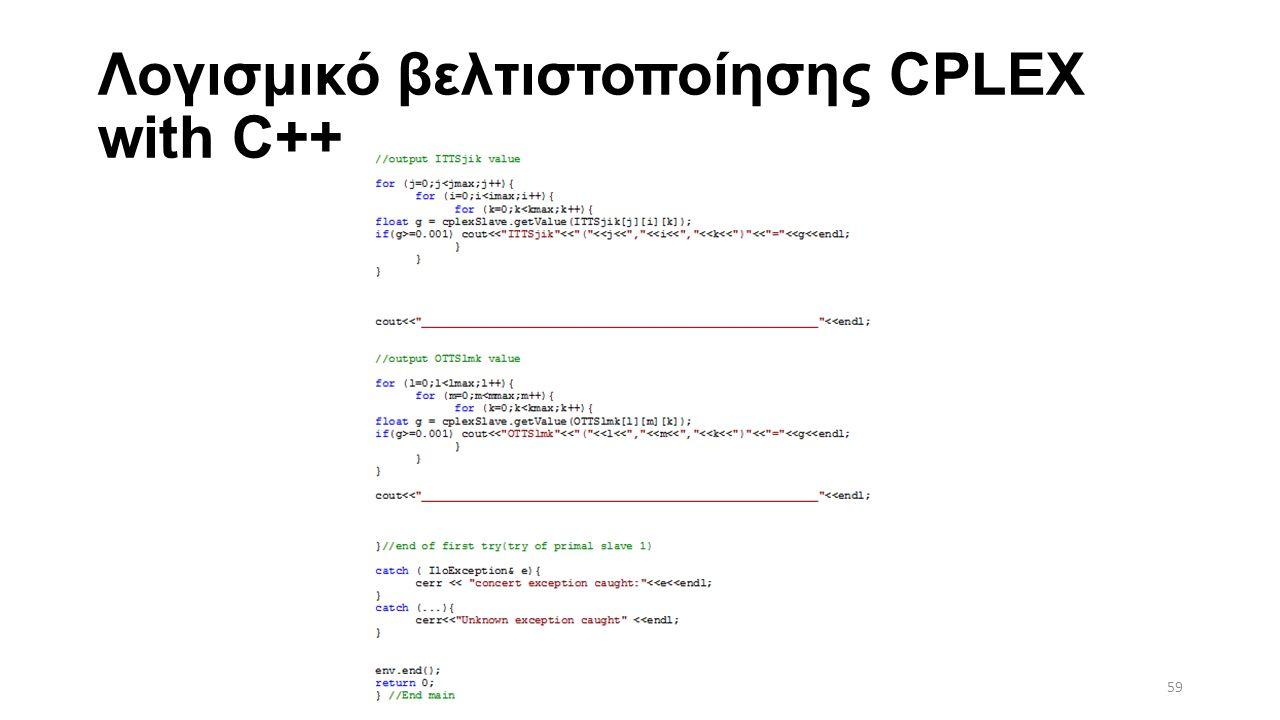 Λογισμικό βελτιστοποίησης CPLEX with C++ 59