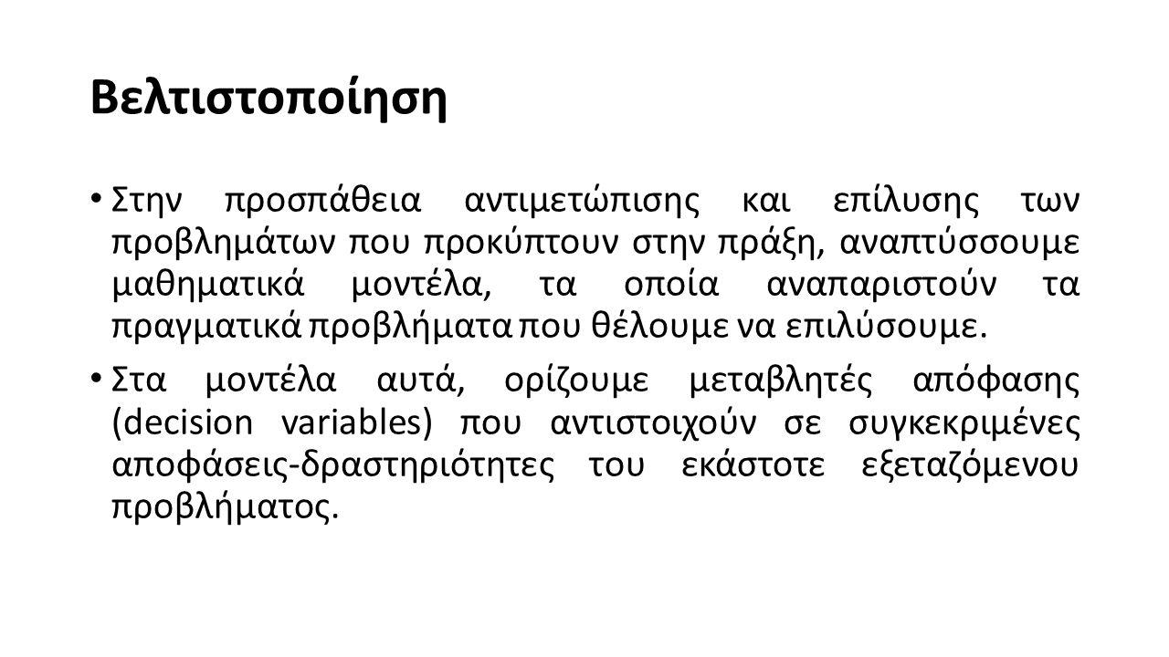Το πρόβλημα της ανάθεσης (assignment) Σε μια παραγωγική διαδικασία υπάρχουν n εργάτες και m μηχανές, όπου n ≥ m.