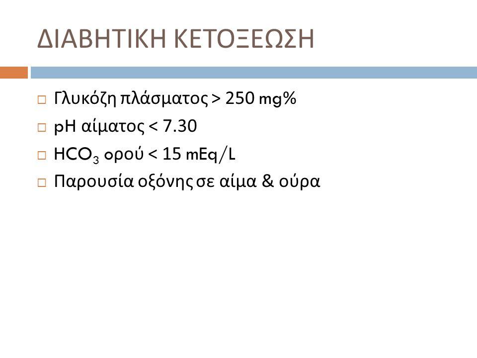 ΔΙΑΒΗΤΙΚΗ ΚΕΤΟΞΕΩΣΗ  Γλυκόζη πλάσματος > 250 mg%  pH αίματος < 7.30  HCO 3 o ρού < 15 mEq/L  Παρουσία οξόνης σε αίμα & ούρα