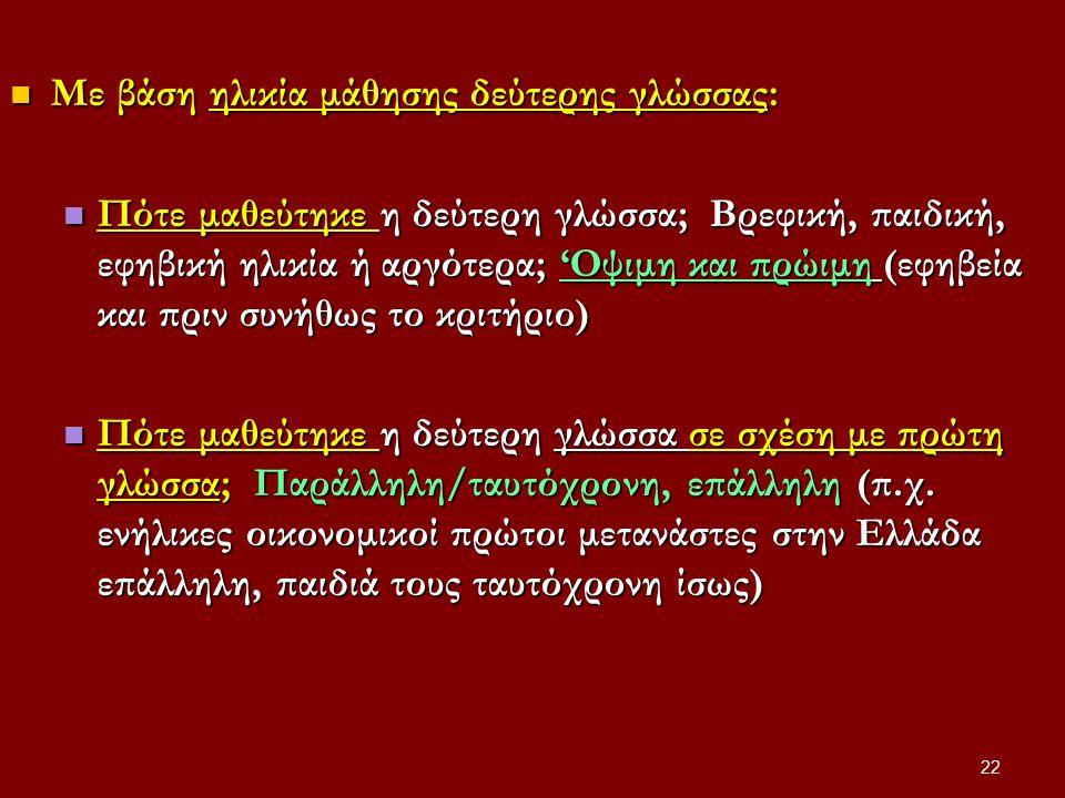 22 Με βάση ηλικία μάθησης δεύτερης γλώσσας: Με βάση ηλικία μάθησης δεύτερης γλώσσας: Πότε μαθεύτηκε η δεύτερη γλώσσα; Βρεφική, παιδική, εφηβική ηλικία