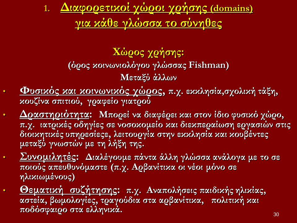 30 1. Διαφορετικοί χώροι χρήσης (domains) για κάθε γλώσσα το σύνηθες Xώρος χρήσης: (όρος κοινωνιολόγου γλώσσας Fishman) Μεταξύ άλλων Φυσικός και κοινω
