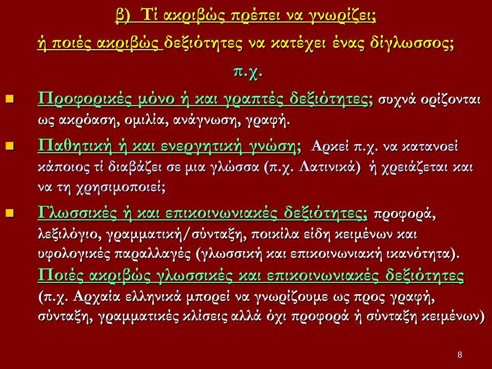 XΡΗΣΕΙΣ ΓΛΩΣΣΩΝ Δύο τουλάχιστον χρήσιμα ευρήματα από έρευνες δίγλωσσων/πολύγλωσσων Κάθε γλώσσα χρησιμοποιείται για διαφορετικούς συνήθως λόγους και σε διαφορετικό βαθμό Κάθε γλώσσα χρησιμοποιείται για διαφορετικούς συνήθως λόγους και σε διαφορετικό βαθμό (όχι αμφιδύναμα και εναλλακτικά συνήθως) Παρεμβολή και εναλλαγή γλωσσών Παρεμβολή και εναλλαγή γλωσσών κατά τη φυσική επικοινωνία