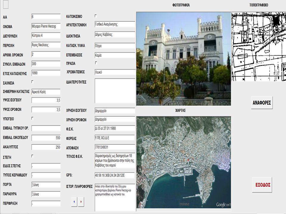 ΒΑΣΗ ΔΕΔΟΜΕΝΩΝ Δημιουργήθηκε με «MS Access 2010» Περιέχει 40 πεδία καταγραφής Περιέχει 91 καταγραφές κτιρίων από τα οποία 71 είναι διατηρητέα και 20 που πρόκειται να ανακυρηχθούν στο μέλλον.