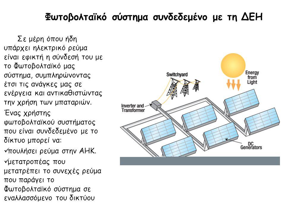 Φωτοβολταϊκό σύστημα συνδεδεμένο με τη ΔΕΗ Σε μέρη όπου ήδη υπάρχει ηλεκτρικό ρεύμα είναι εφικτή η σύνδεσή του με το Φωτοβολταϊκό μας σύστημα, συμπληρ