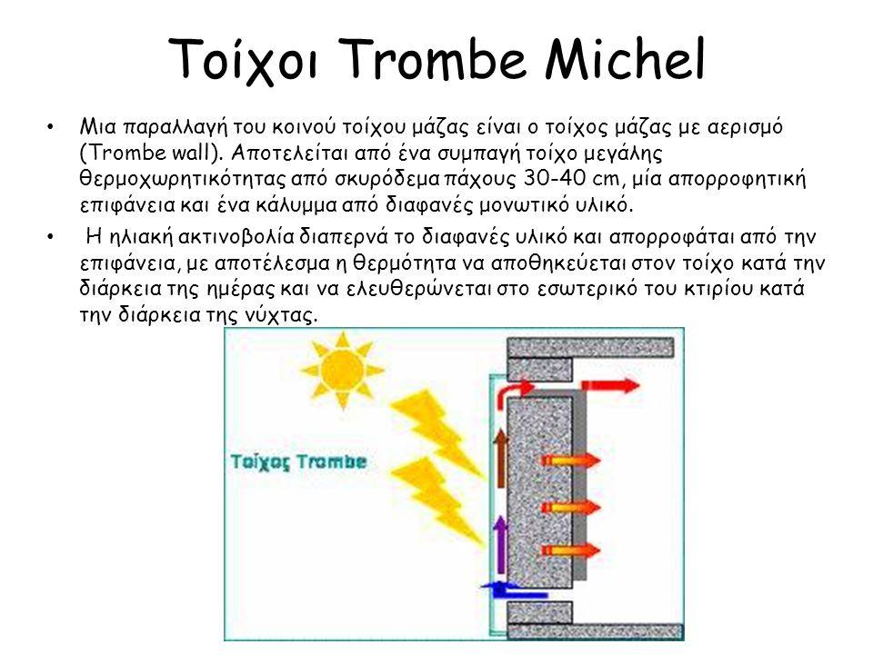 Τοίχοι Trombe Michel Μια παραλλαγή του κοινού τοίχου μάζας είναι ο τοίχος μάζας με αερισμό (Trombe wall). Αποτελείται από ένα συμπαγή τοίχο μεγάλης θε