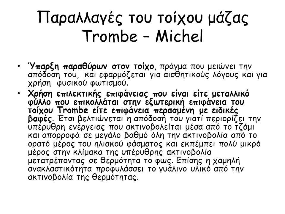 Παραλλαγές του τοίχου μάζας Trombe – Michel Ύπαρξη παραθύρων στον τοίχο, πράγμα που μειώνει την απόδοση του, και εφαρμόζεται για αισθητικούς λόγους κα