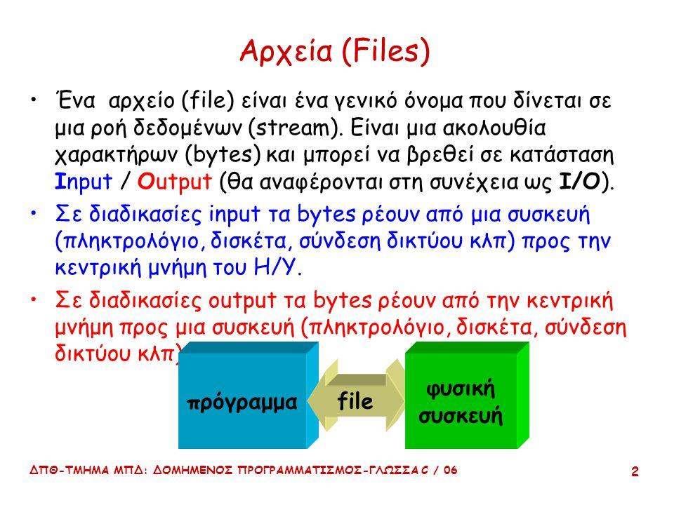 ΔΠΘ-ΤΜΗΜΑ ΜΠΔ: ΔΟΜΗΜΕΝΟΣ ΠΡΟΓΡΑΜΜΑΤΙΣΜΟΣ-ΓΛΩΣΣΑ C / 06 2 Αρχεία (Files) Ένα αρχείο (file) είναι ένα γενικό όνομα που δίνεται σε μια ροή δεδομένων (str