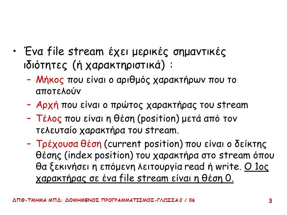 ΔΠΘ-ΤΜΗΜΑ ΜΠΔ: ΔΟΜΗΜΕΝΟΣ ΠΡΟΓΡΑΜΜΑΤΙΣΜΟΣ-ΓΛΩΣΣΑ C / 06 3 Ένα file stream έχει μερικές σημαντικές ιδιότητες (ή χαρακτηριστικά) : –Μήκος που είναι ο αριθμός χαρακτήρων που το αποτελούν –Αρχή που είναι ο πρώτος χαρακτήρας του stream –Τέλος που είναι η θέση (position) μετά από τον τελευταίο χαρακτήρα του stream.