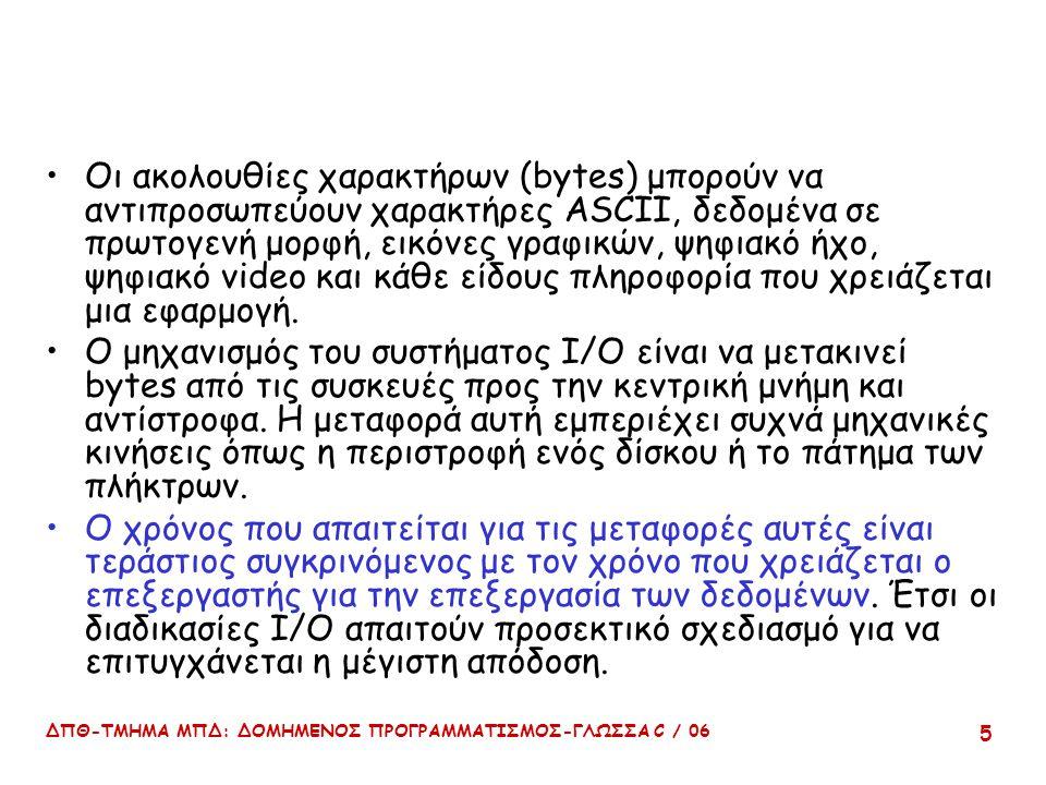ΔΠΘ-ΤΜΗΜΑ ΜΠΔ: ΔΟΜΗΜΕΝΟΣ ΠΡΟΓΡΑΜΜΑΤΙΣΜΟΣ-ΓΛΩΣΣΑ C / 06 5 Οι ακολουθίες χαρακτήρων (bytes) μπορούν να αντιπροσωπεύουν χαρακτήρες ASCII, δεδομένα σε πρωτογενή μορφή, εικόνες γραφικών, ψηφιακό ήχο, ψηφιακό video και κάθε είδους πληροφορία που χρειάζεται μια εφαρμογή.