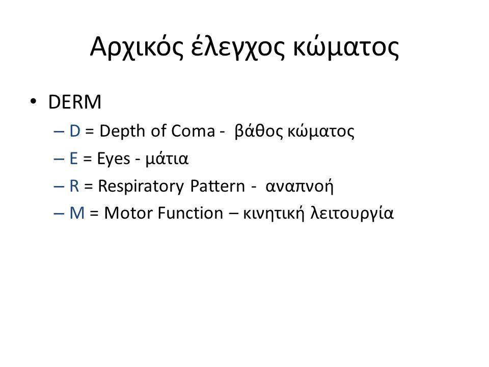 Αρχικός έλεγχος κώματος DERM – D = Depth of Coma - βάθος κώματος – E = Eyes - μάτια – R = Respiratory Pattern - αναπνοή – M = Motor Function – κινητικ